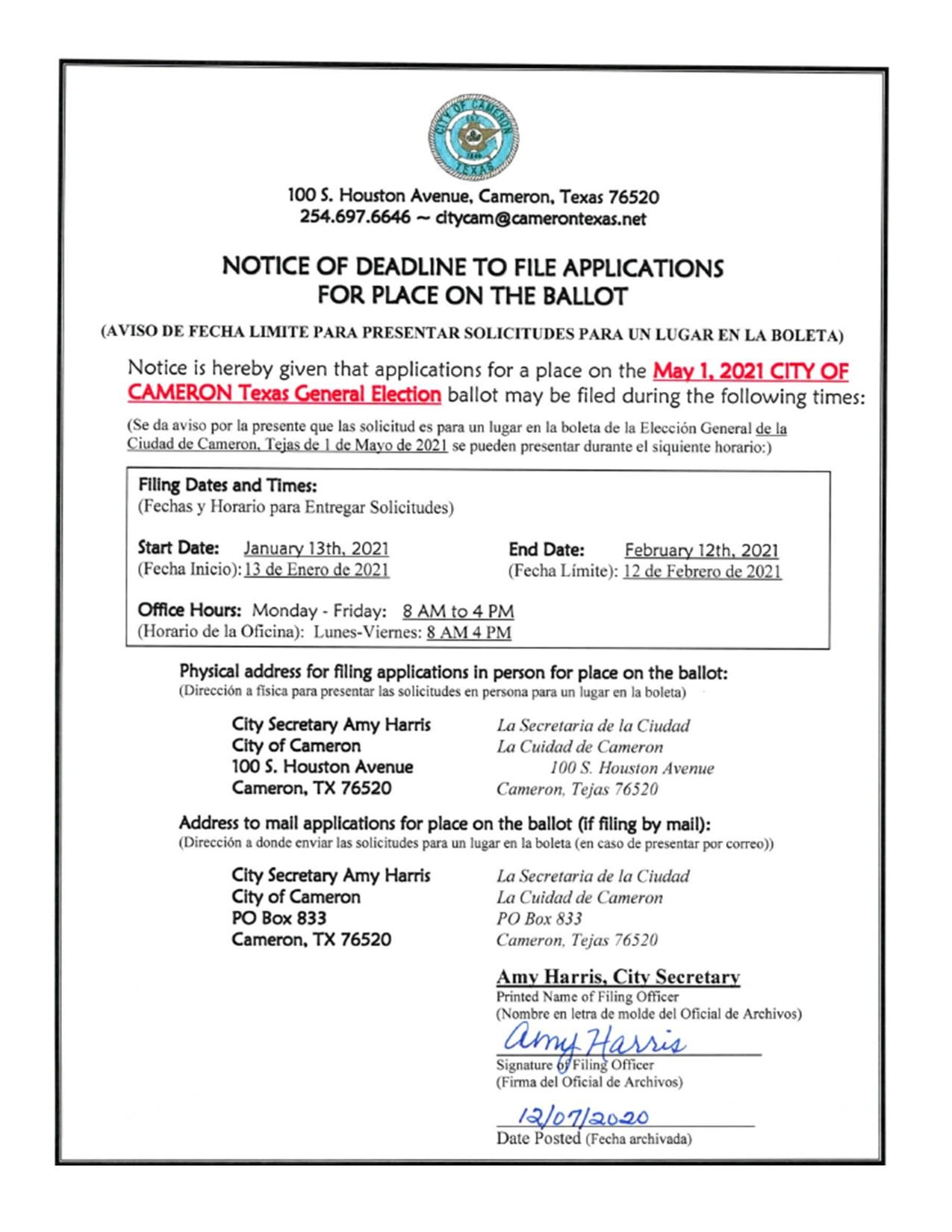 Notice of Dealine to File