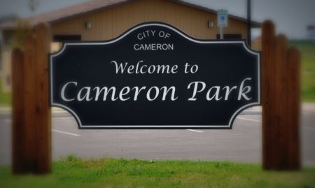 Welcome to Cameron Park sign